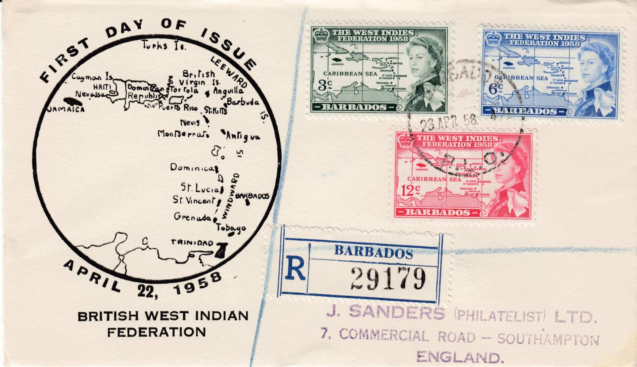 British West Indies Federation Barbados First Day Cover - Barbados