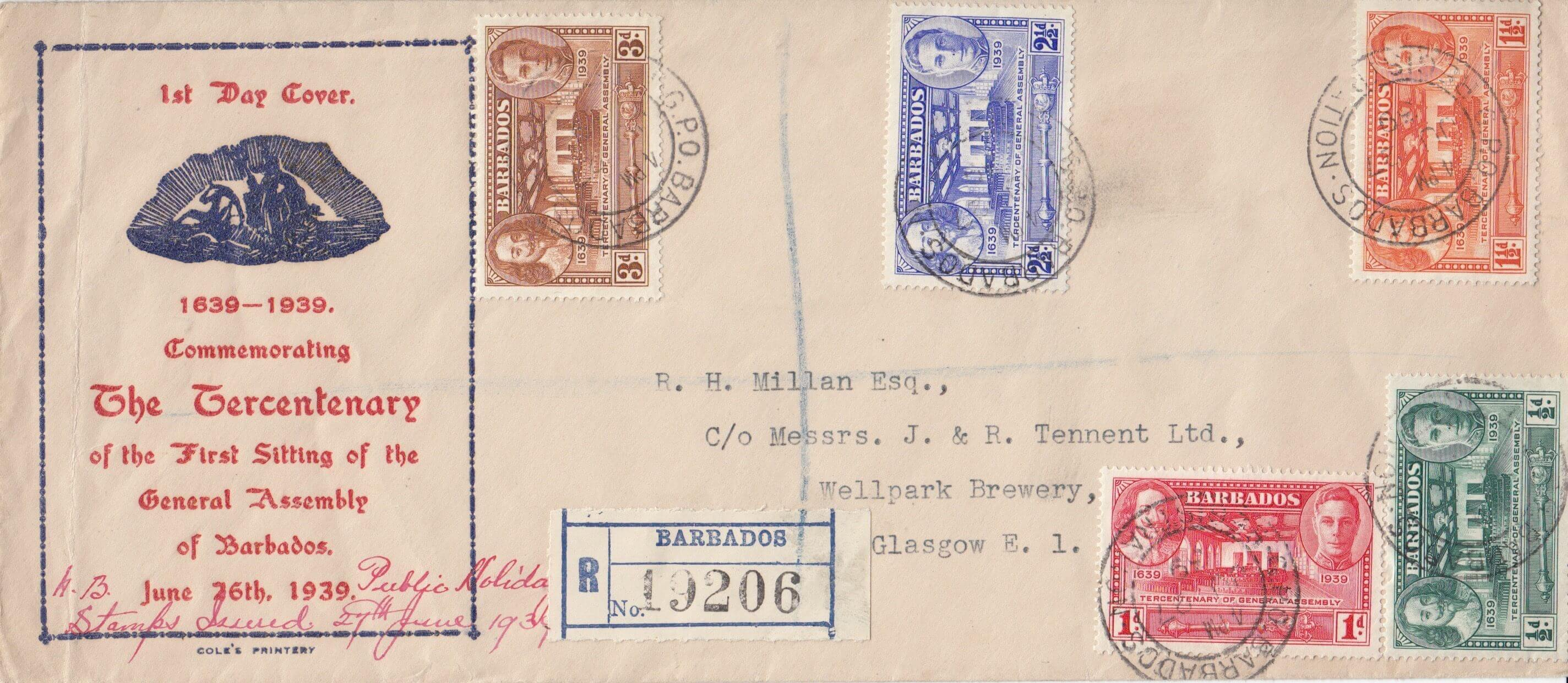 Barbados Tercentenary of General Assembly First Day Cover 1939