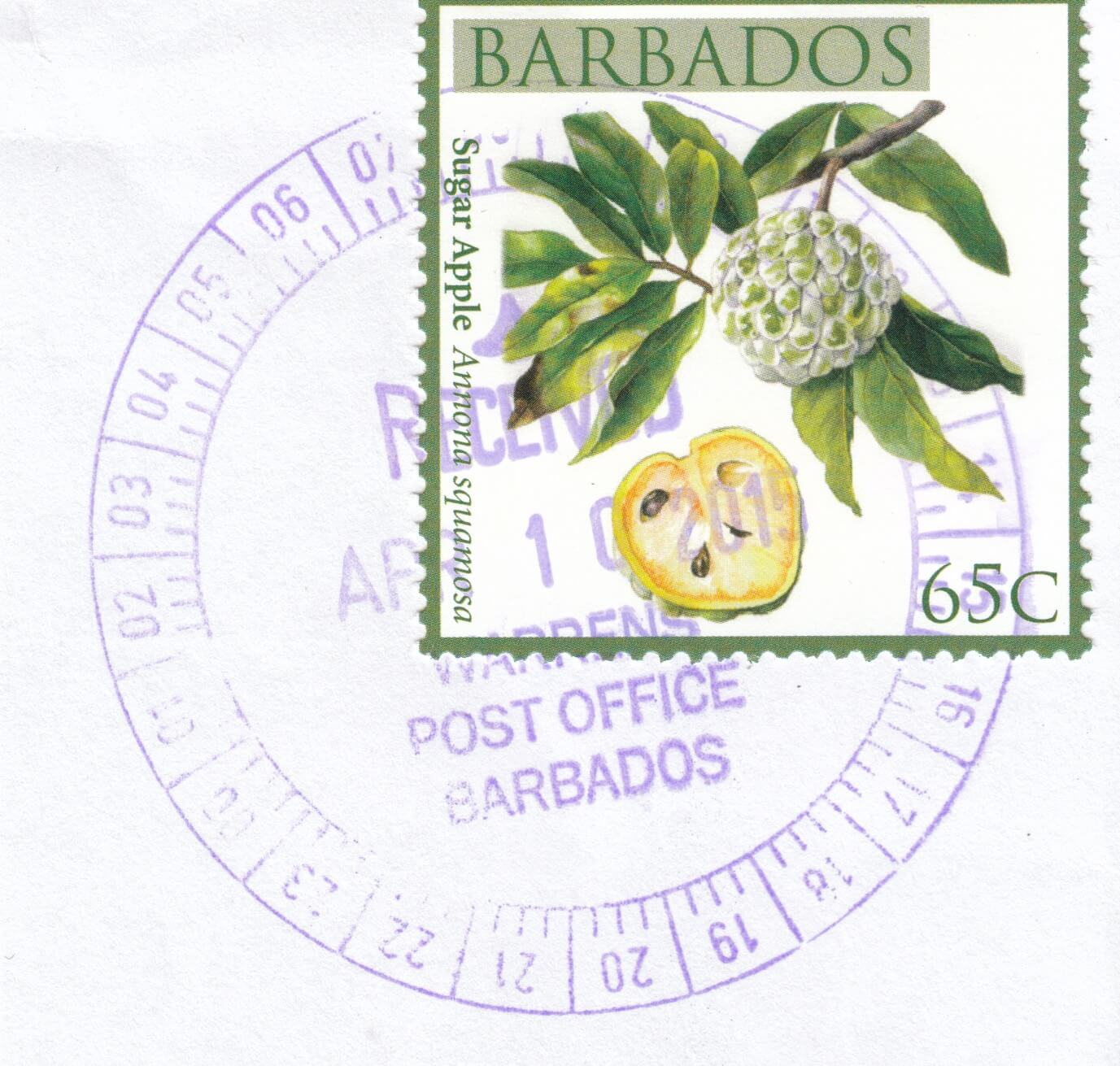 Cancel from Warrens Post Office, Barbados dated 2015