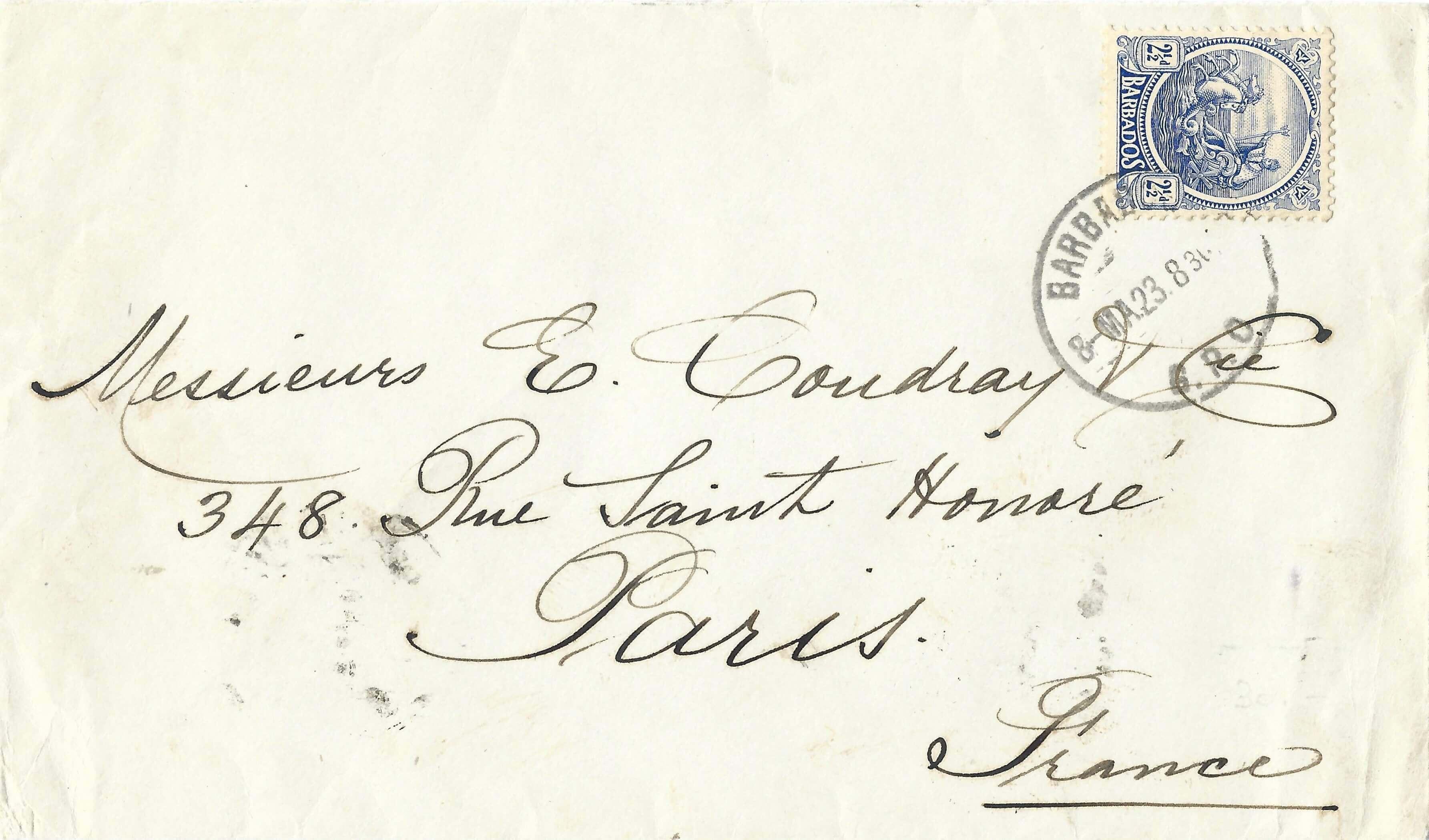Barbados cover to Paris 1923