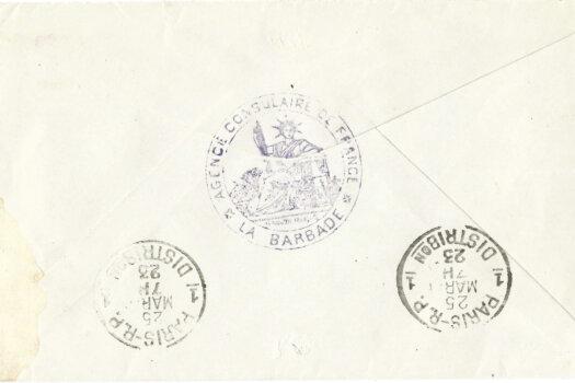 Barbados cover to Paris 1923 reverse
