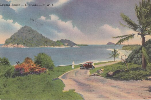 Barbados Stamp on Levera Beach Grenada Postcard with 6d rate stamp