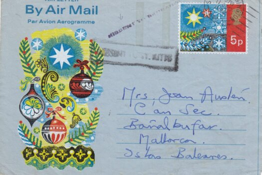 """1972 Airmail from UK to Mallorca with """"Missent to Barbados"""" and """"Missent to St Kitts"""" instructional markings"""