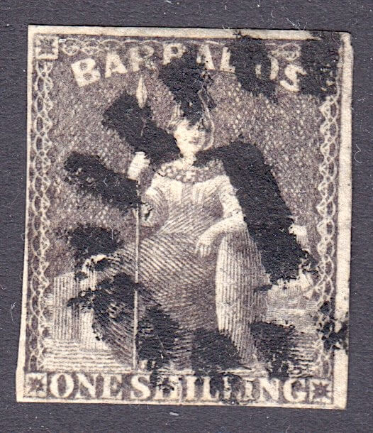 Barbados SG12 | 1/- Brown Black Britannia