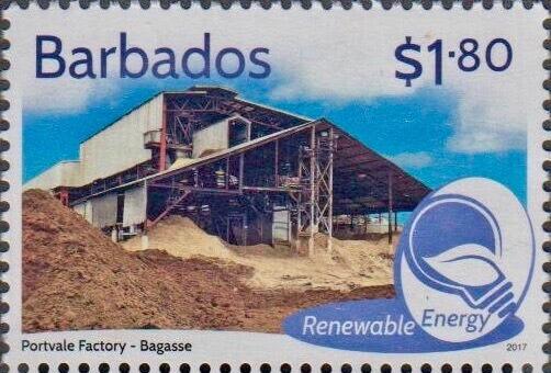 Barbados Renewable Energy - $1.80 stamp - Portvale Factory Bagasse