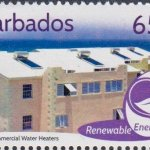 Barbados Renewable Energy - 65c stamp - Solar Commercial Water Heater