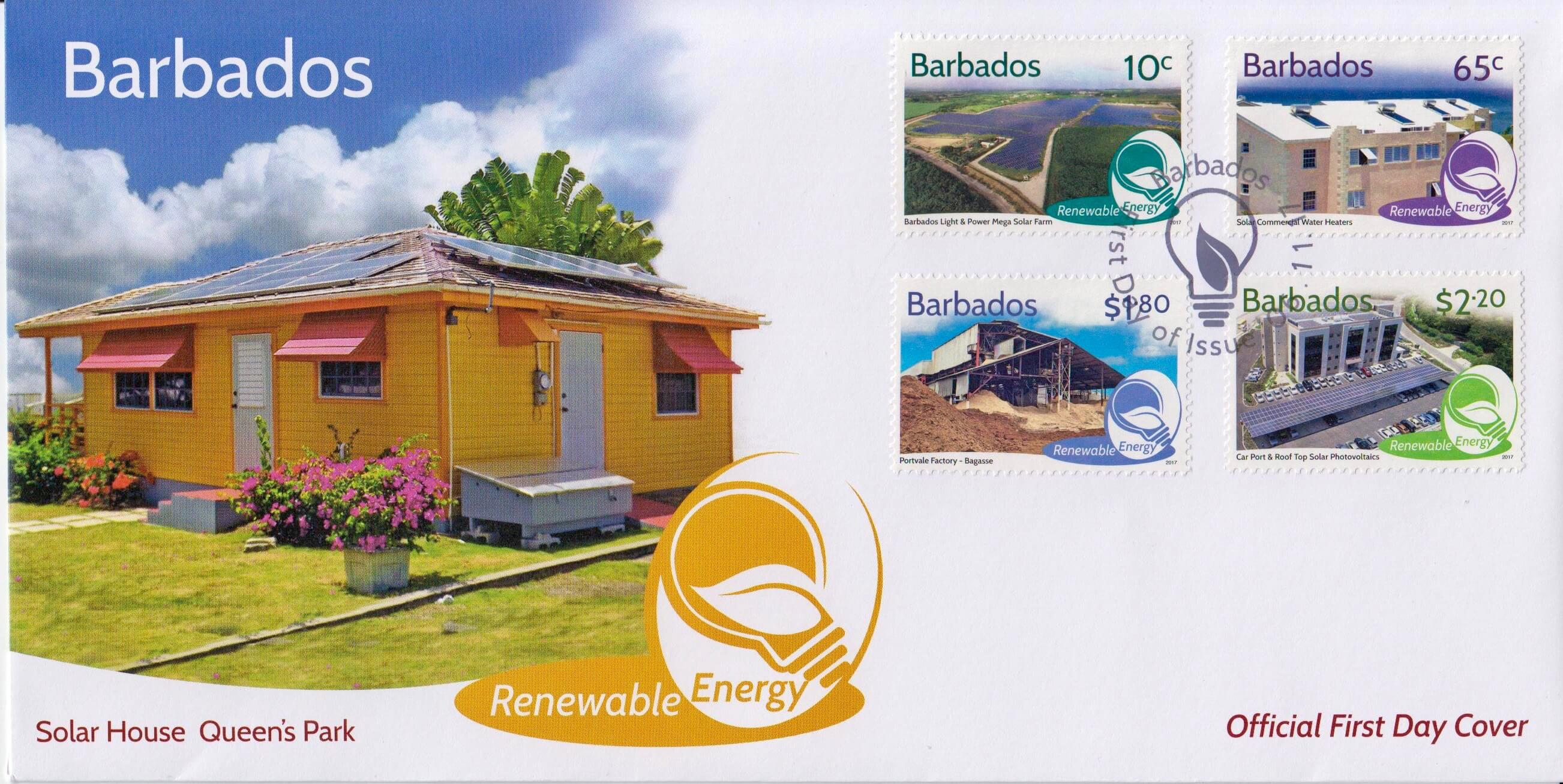 Barbados Renewable Energy - First Day Cover - Queens Park Solar House