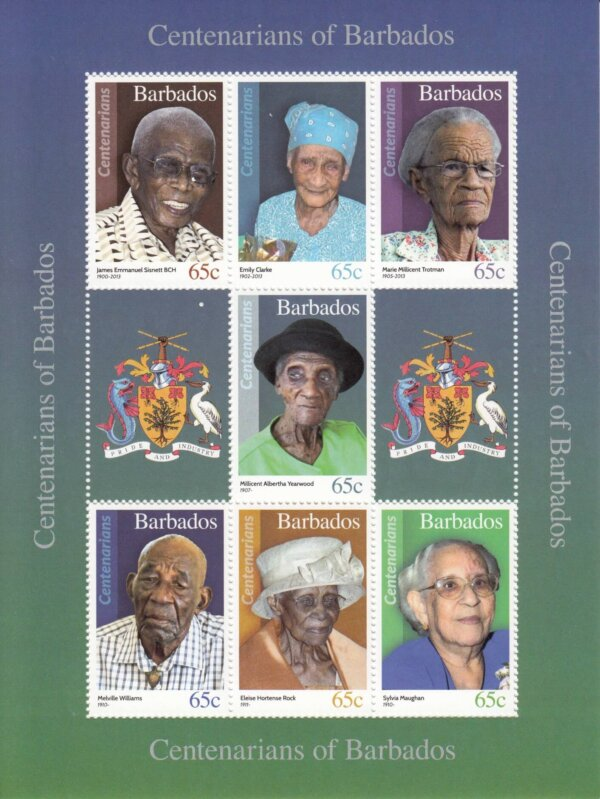 Barbados SGMS1481 - Centenarians mini sheet