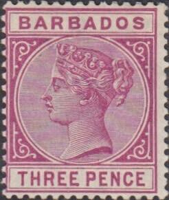 Barbados SG96 3d Reddish Purple