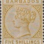Barbados SG103 5/- Bistre