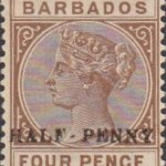 Barbados SG104 ½d on 4d