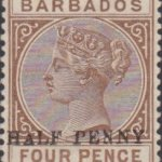 Barbados SG104a ½d on 4d No Hyphen