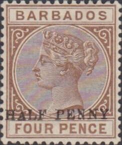 Barbados SG104a ½d on 4d No Hyphen