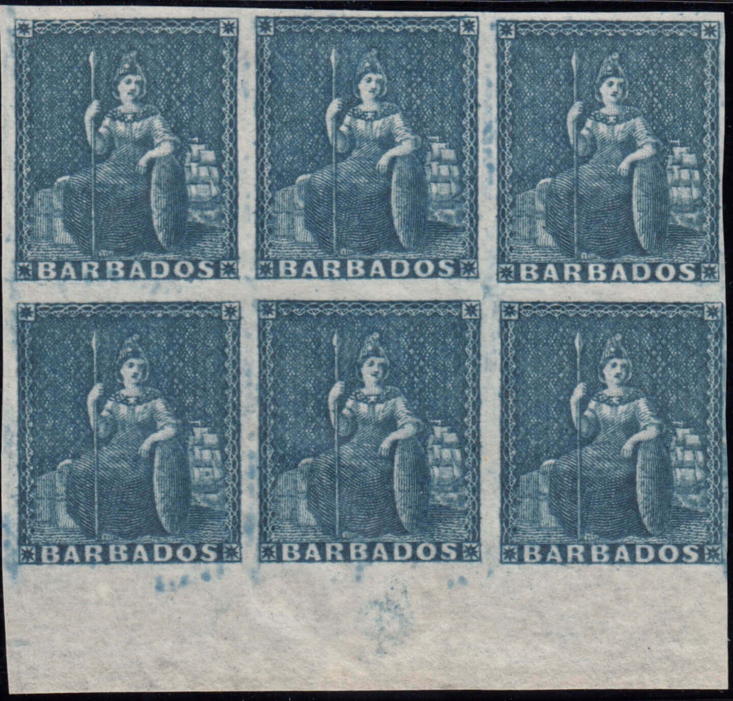 Barbados SG5a block of six