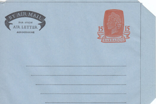 Barbados Air Mail Air Letter 1972 HGFG4 15c Orange & Lt Blue