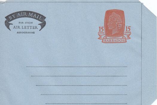 Barbados Air Mail Air Letter 1972 HGFG4 15c Orange & Lt Blue