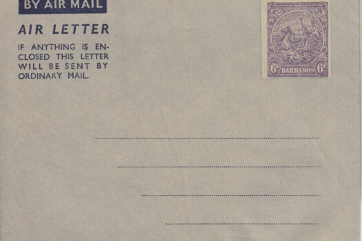Barbados Air Mail Air Letter 1949 HGFG1 6d Violet on Grey