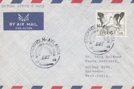 Stockholm, Sweden to Barbados First Flight Cover 1969
