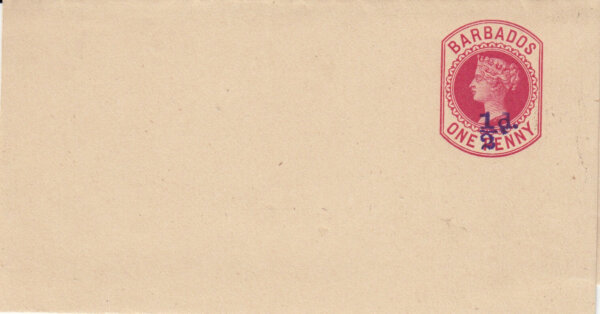 Barbados 1892 | Newspaper Wrapper ½d on 1d Carmine HGE3