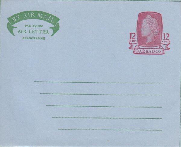 Barbados Air Mail Air Letter 1971 HGFG3 12c Carmine & Lt Blue