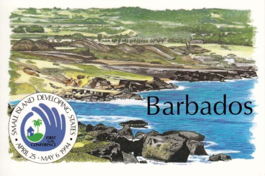 Barbados postcard Consett Bay - Small Island Developing States stamps 1994