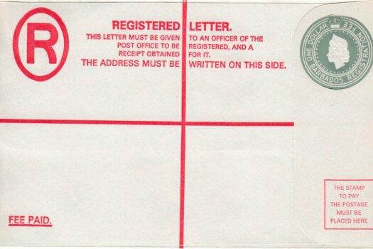 Barbados Registered Letter - QEII $1