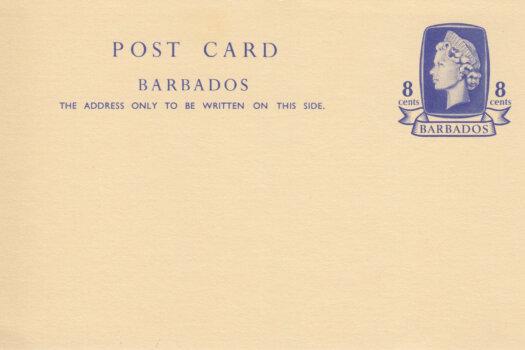 Barbados pre paid postcard QEII 8c
