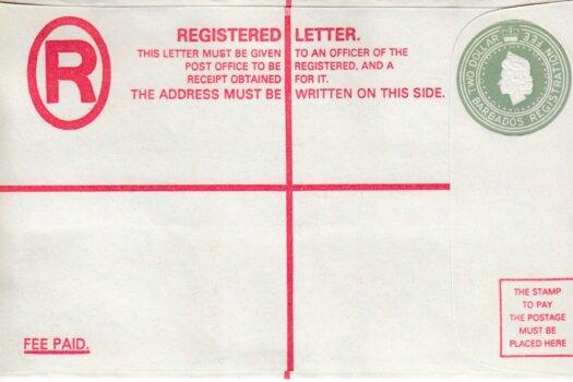 Scan Barbados Registered Letter - QEII $2