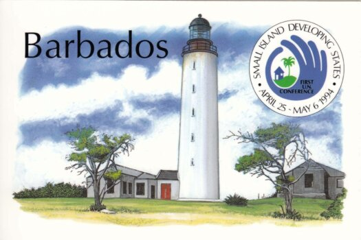 Barbados postcard Ragged Point Lighthouse - Small Island Developing States stamps 1994