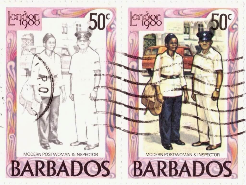 Barbados Stamp Colour fade