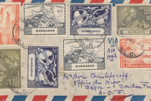 Barbados 1950 cover to Sudan with two sets of UPU stamps
