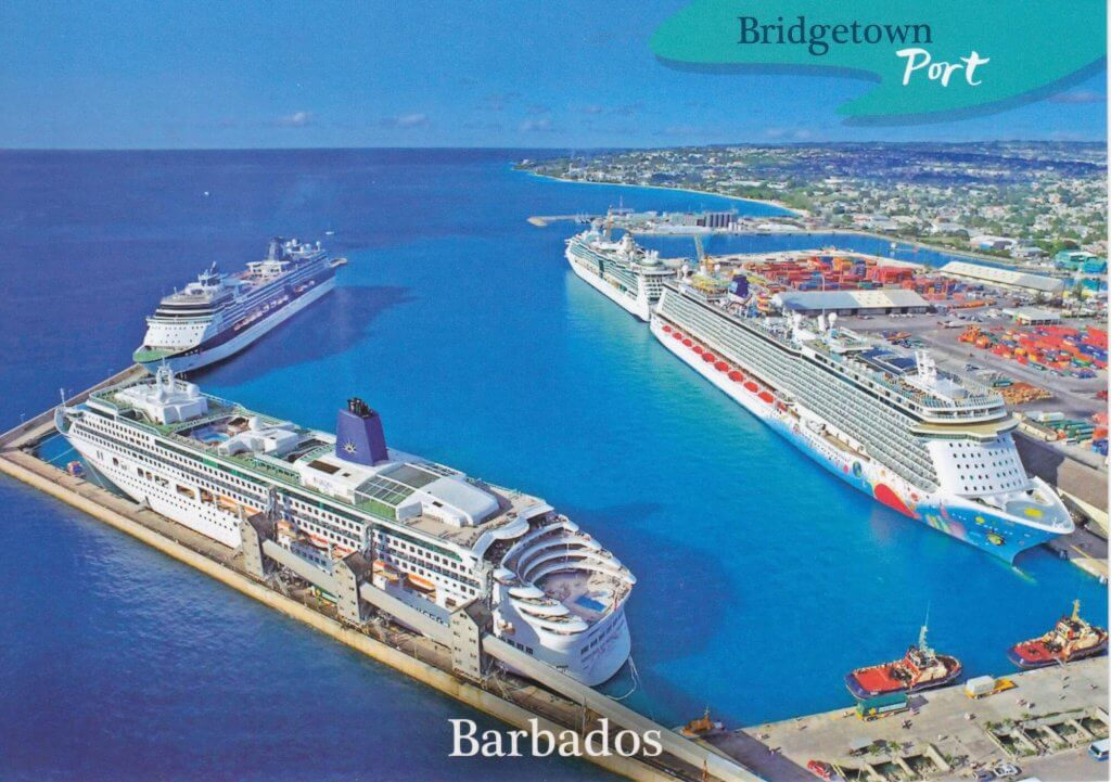 Barbados Stamps Pre Paid Postcard - Bridgetown Port - Actual Card