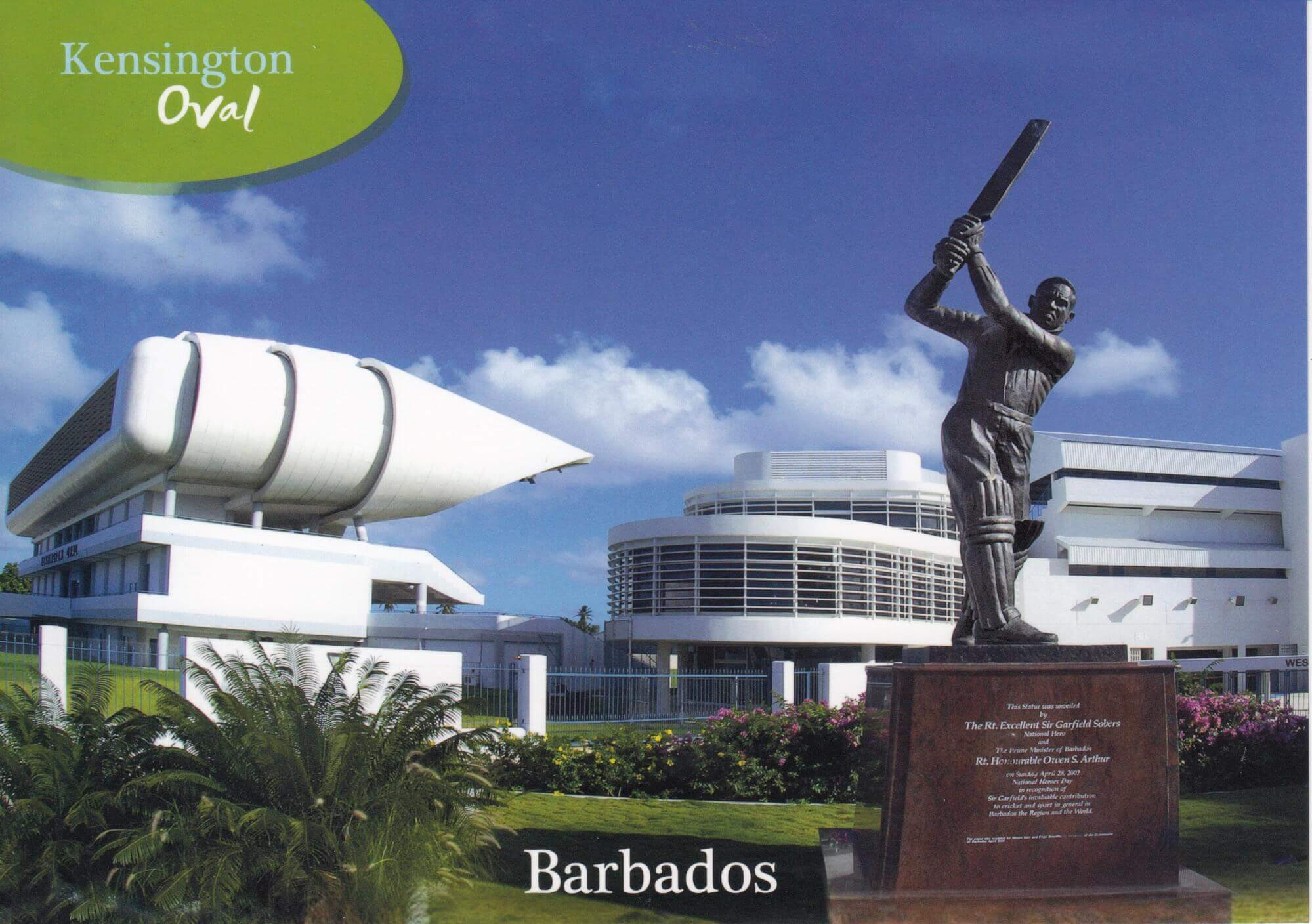 Barbados Stamps Pre Paid Postcard - Kensington Oval - Actual Card