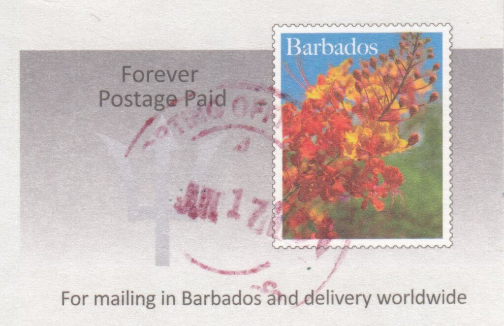 Barbados Pre Paid Postcard Gun Hill Station with incorrect date - postmark