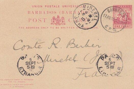 Barbados 1910 Postcard to France