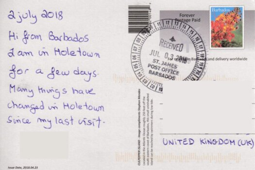Barbados Stamps Pre Paid Postcard - Culpepper Island - posted on 3rd July, the day before official release showing cancel