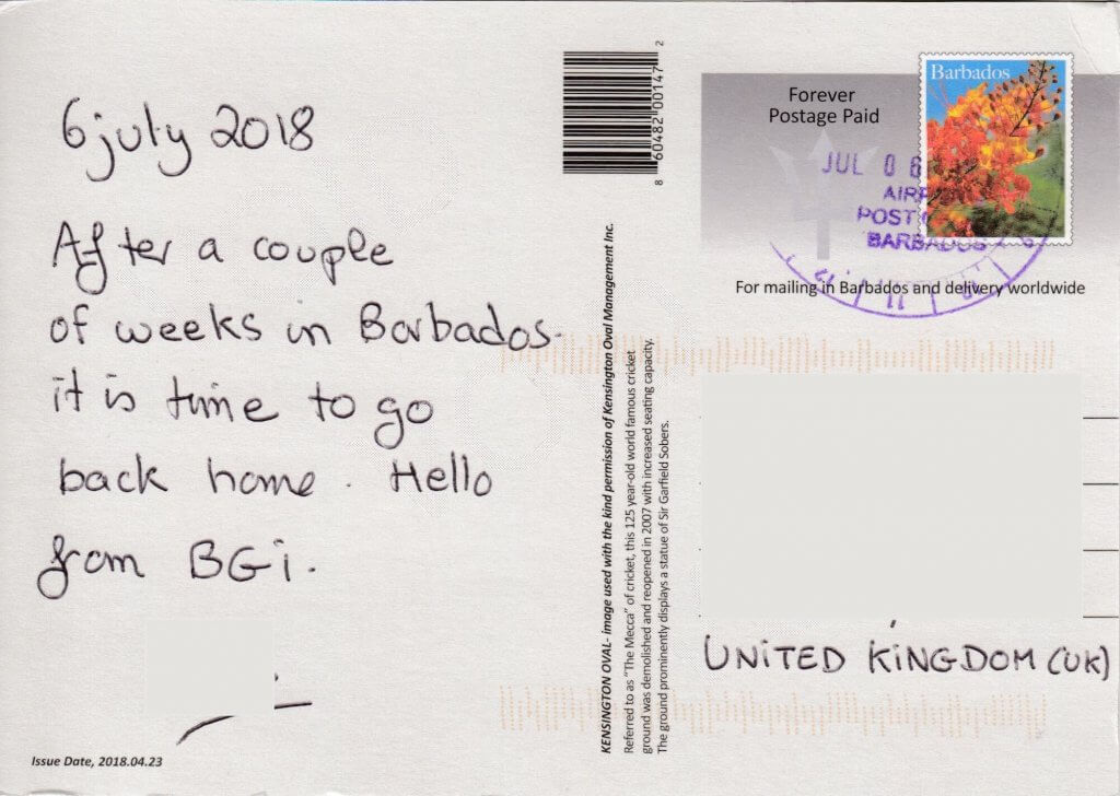 Barbados Stamps Pre Paid Postcard - Kensington Oval - used on 6th July (cancel)