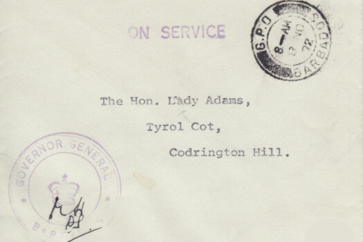 Barbados 'On Service' letter from Governor General Barbados to The Hon Lady Adams, Codrington Hill, Barbados
