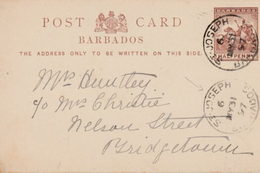 Barbados 1/2d pre paid postcard from St Jospeh to Bridgetown May 1891 with St Joseph '6' parish cancel