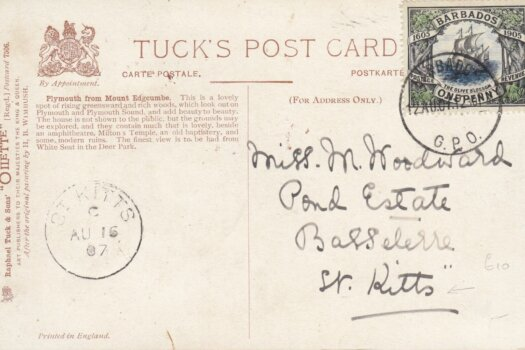 Barbados Olive Blossom stamp on Tucks Postcard to St Kitts August 1907