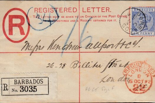 Barbados 1892 Registered envelope to London with QV 2 1/2d Keyplate stamp SG94 and London receiving mark