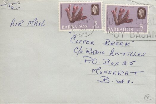"Barbados Slogan Cancel ""Buy Local Buy Bajan"" on 1967 cover with two 5c Staghorn Coral stamps"