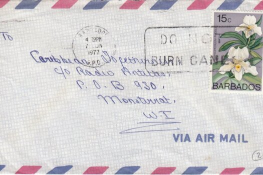 """Barbados Slogan Cancel """"Do Not Burn Canes"""" on June 1977 cover with 15c 'Paphiopedilium Puddle' stamp"""