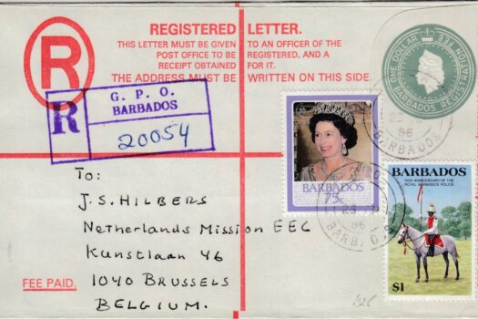 Barbados Registered letter to Belgium 1985