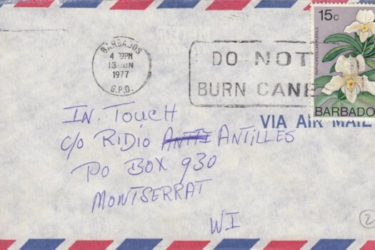 """Barbados Slogan Cancel """"Do Not Burn Canes"""" on 1977 cover with 15c 'Paphiopedilium Puddle' stamp"""