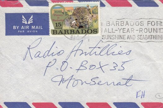 "Barbados Slogan Cancel ""Barbados for All-Year-Round Sunshine and Sunbathing"" on 1974 cover with 15c Pottery in Barbados stamp"