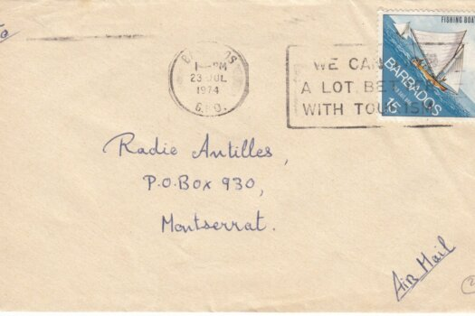 """Barbados Slogan Cancel """"We can do a lot better with Tourism"""" on 1974 cover with 15c Fishing Boats stamp"""