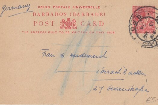 Barbados George V 1d pre paid Post Card to Germany 1934