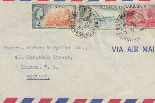 Barbados Airmail letter to London with mixed reign stamps affixed 1958