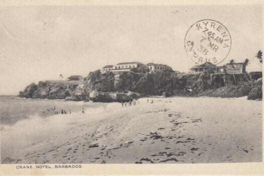 Barbados postcard of Crane Hotel sent to Cyprus March 1938